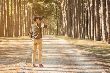 Nature photographer taking photos