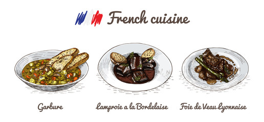 French menu colorful illustration.