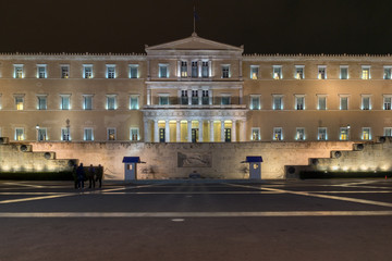 Night photo of The Greek parliament in Athens, Attica, Greece