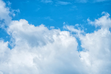 Beautiful blue sky with fluffy white clouds.
