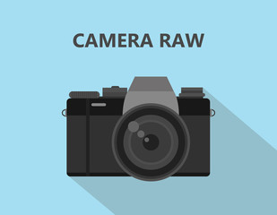 Camera RAW format file illustration with camera icon with shadow and blue background