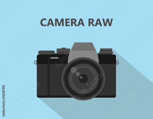 Camera RAW format file illustration with camera icon with