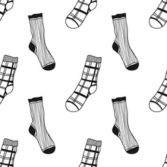 Seamless black, white pattern of doddle socks for colored book