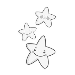 white kawaii happy stars expression