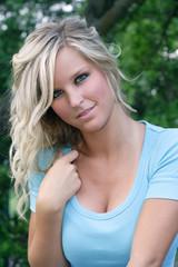 Beautiful blonde model outdoors