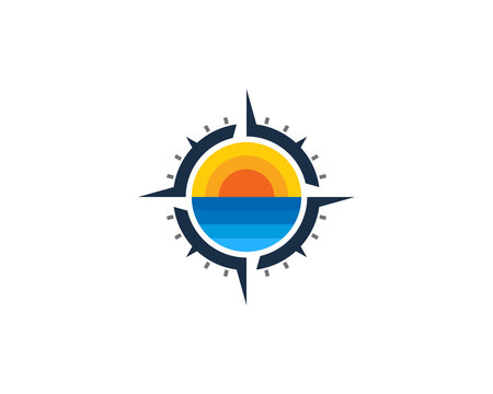 Beach Compass Icon Logo Design Element