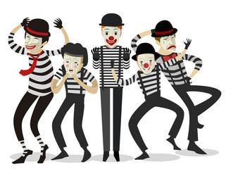 five mime clowns cute happy