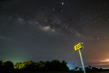 The Milky Way Galaxy in the background seen here with a Rail Sign. Long exposure photograph, with grain.Image contain certain grain or noise and soft focus.
