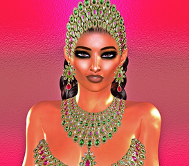 Jewls, beads, emeralds, diamonds and more combine to enhance this beautiful woman in our unique, modern 3d digital art style.