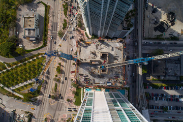 Aerial image of Construction site with cranes
