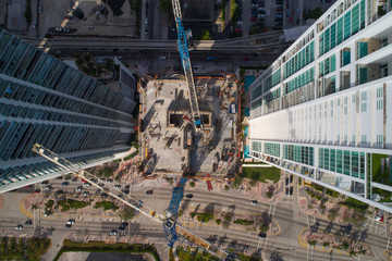 Aerial over a construction site
