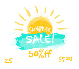 Banner discounts in the style of hand drawing. Template for advertising is a summer special offer, a sunshine sale.