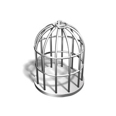 Silver cage, 3D illustration