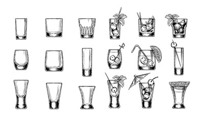 Set of vector illustration of stemware. Glasses for alcohol. Engraving style
