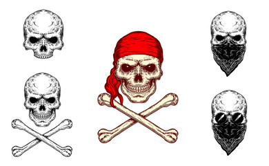 Vector illustration of a skull in red bandana and crossbones and a set of different black and white skulls. Print for T-shirts