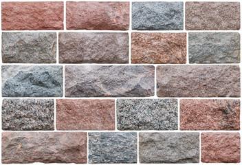 Nineteen rectangular granite roughly processed blocks for facing of walls of historical buildings.