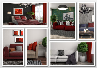 Collage of modern home red interior. 3d illustration