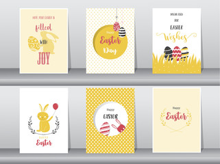 Set of Easter greeting cards,template,rabbits,eggs,Vector illustrations