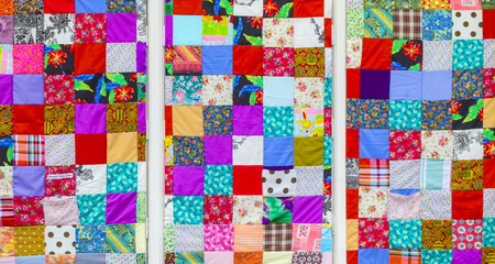 Background of colorful patchwork fabrics Fototapete