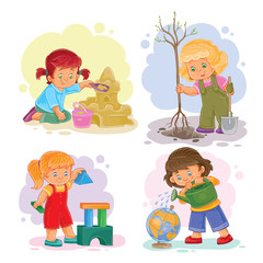 A set of icons of small girls playing with toys