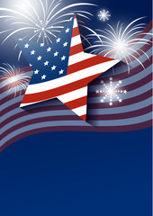 Star and USA flag with fireworks design on blue background