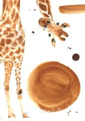Realistic watercolor giraffe