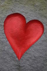 rotes Herz in Stein, Grußkarte Muttertag