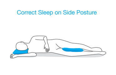 Sleeping on one side with place a pillow between knees to protect hips, pelvis and spine aligned.