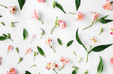 Flat lay floral pattern made of pink alstroemeria, leaves, petals