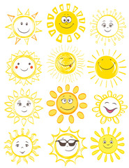 cartoon smiling sun with various faces set on white. funny hand drawn vector illustration