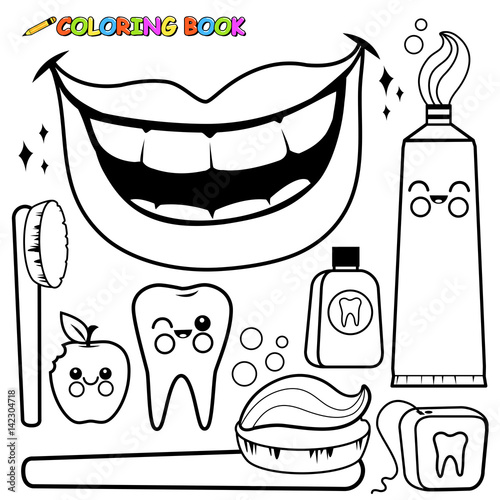 Dental Hygiene Vector Set Black And White Coloring Page