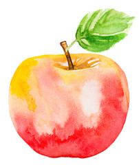light red apple with green leaf. watercolor illustration