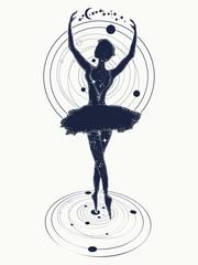 Ballerina dances in space tattoo. Symbol of art, poetry, philosophy