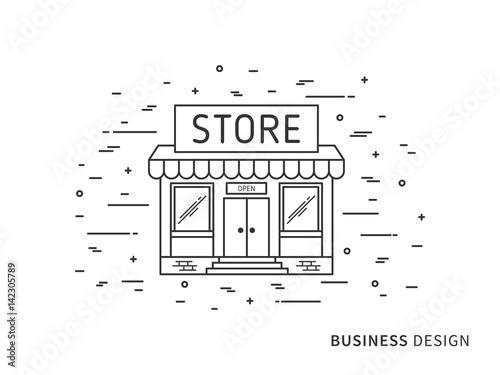 Linear Exterior Landscape Design Illustration Of Store Shop With Best Windows Exterior Design Concept Design