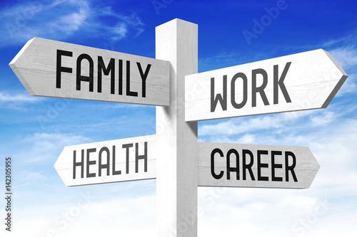 Work balance - family, work, health, career - wooden