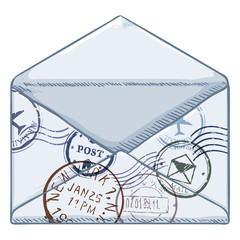 Vector Cartoon White Envelope with Postage Stamps
