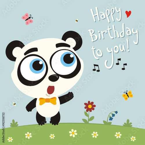 Happy Birthday To You Funny Panda Bear Sings Birthday Song Card
