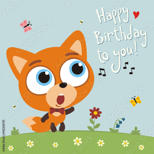 Happy Birthday To You Funny Fox Sings Birthday Song Card With Fox