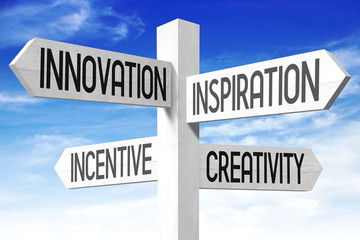 Inspiration concept (innovation, inspiration, incentive, creativity) - wooden signpost