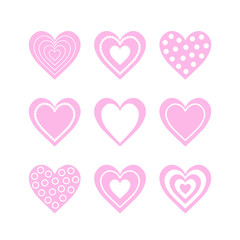 Set of isolated nine pink heart with white ornament on white background.