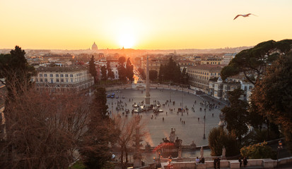 Piazza del Popolo. At sunset. Rome, Italy