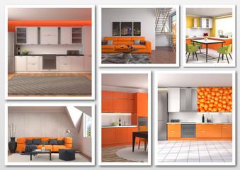 Collage of modern home orange interior. 3d illustration