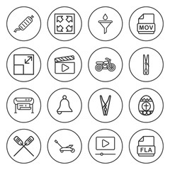 Set of 16 clip outline icons