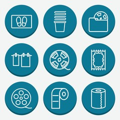Set of 9 roll outline icons