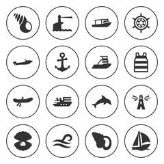 Set of 16 marine filled icons