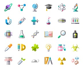 Science, icons, color, vector. Colored icons with shadow on white background. Different types of scientific activities. Vector clip art.
