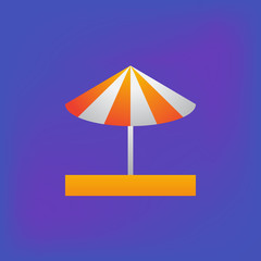 Vector icon or illustration showing umbrella on the sand in brutalism style
