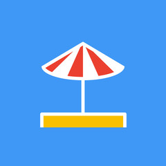 Vector icon or illustration showing umbrella on the sand in outline style