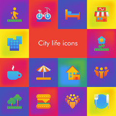 Vector set of 14 icons showing city life in brutalism material design style