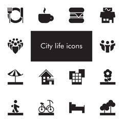 Vector set of 14 icons showing city life in one color